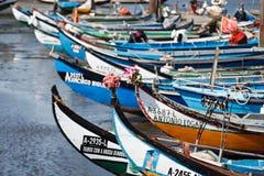 Proues colorées des moliceiros portugais de flotille de la pêche à la fin du jour attachée à un dock de la communauté Photo stock