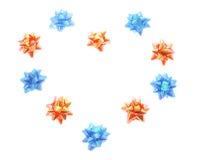 Proues d'étoile disposées dans la forme de coeur Images stock