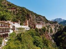 Proussos修道院,卡尔派尼西,希腊 库存照片