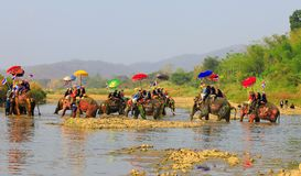 A província de Srisatchanalai, Tailândia-abril 7,2019, muitos povos comemora na cultura velha tailandesa fotos de stock