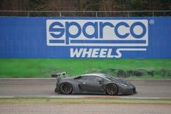 Prov för Lamborghini Huracà ¡ n GT3 2016 på Monza Royaltyfri Fotografi