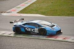 Prov för Lamborghini Huracà ¡ n GT3 2016 på Monza Royaltyfri Bild