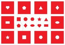Prov för Seguin formbräde, fyndobjekt, olika röda geometriska former, rolig utbildningslek för ungar, visuell uppgift för utveckl stock illustrationer