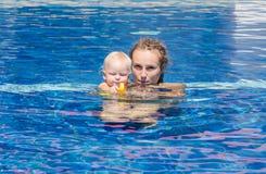 Prova del bambino da nuotare Immagine Stock