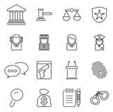 Prova del tribunale o Corte di Giustizia l'insieme dell'illustrazione di vettore di Icons Thin Line Fotografia Stock Libera da Diritti