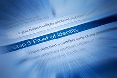 Prova dell'identità immagine stock libera da diritti