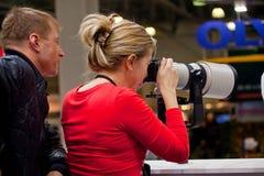 Prova dell'obiettivo di Canon Fotografie Stock Libere da Diritti