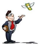 Prova dell'uomo d'affari per prendere dollaro volante sopra isolato sopra bianco Fotografie Stock Libere da Diritti
