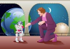 Prova della donna per passare scossa con un robot del droid sul fondo della stanza della stazione spaziale Fotografie Stock