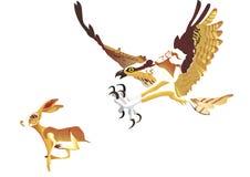Prova di Eagle per prendere un coniglio Immagini Stock