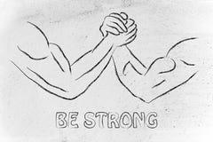 Prova di forza, progettazione di braccio di ferro: sia forte immagini stock