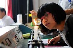 Prova di laboratorio fisica e chimica Fotografia Stock