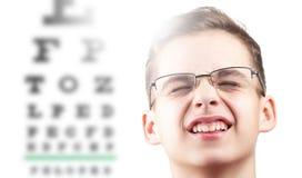 Prova di oftalmologia di vista dell'occhio e salute di visione, medico della medicina fotografia stock libera da diritti