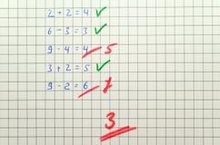 Prova di per la matematica Immagini Stock