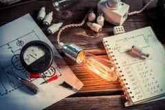 Prova di resistenza della lampadina in laboratorio fotografia stock libera da diritti