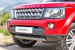 Prova su strada di Rover Discovery 4 della terra il 13 maggio 2014 in Hong Kong Immagine Stock