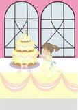 Provando um bolo de casamento Imagens de Stock