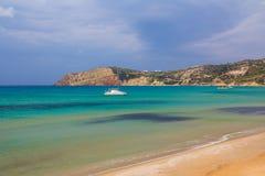 Provatas beach, Milos island, Cyclades, Aegean, Greece. Provatas beach with boat, Milos island, Cyclades, Aegean, Greece Stock Photos