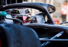 Provdagar 2019 för formel en - Lewis Hamilton royaltyfri bild