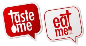Prove-me & coma-me etiquetas Imagem de Stock