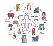Provea de personal el trabajo y el registro de gente y del equipaje en el diseño del aeropuerto Línea de registro concepto del ej Libre Illustration