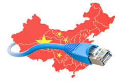 Proveedor de servicios de Internet en el concepto de China, representación 3D Fotografía de archivo