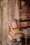 Provençal Textiles. Textiles and fabric shop in Les Baux-de-Provence, France Royalty Free Stock Photo