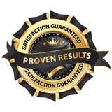 Proven results, satisfaction guaranteed. Elegant ribbon / stamp / sticker Stock Images