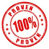 Proven vector stamp. On white background stock illustration