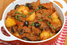 Provencal Beef Stew in Casserole Dish Royalty Free Stock Photo