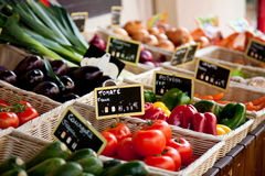 Provencal market stall. Offering fresh vegetables royalty free stock photo