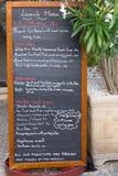 Provencal menu board. Black board with a menu restaurant in Avignon ,Provence, France Royalty Free Stock Photos
