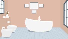 Provencal projektuje łazienkę z modnym skąpaniem, toaleta, bidet, papier toaletowy, waza z śnieżyczkami, okno, obrazy na jasnoróż ilustracji