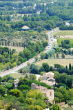 Provencal scenery. View on road and fields near Gordes in Provence region - characteristic provencal scenery royalty free stock photo