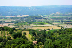 Provencal scenery. View on fields near Roussillon in Provence region - characteristic provencal scenery stock photography
