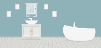 Provencal stilbadrum med handfatet, en garderob, ett trendigt bad och målningar på den blåa väggen Ljust - gråa träplankor royaltyfri illustrationer