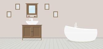Provencal stilbadrum med handfatet, garderoben, det trendiga badet och målningar på en dammig rosa vägg Ljust - gråa träplankor stock illustrationer