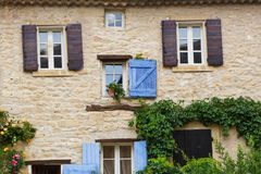 Provencal street with typical houses in southern France, Provenc Royalty Free Stock Photo