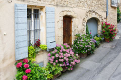 Provencal street with typical houses in southern France, Provenc Stock Image