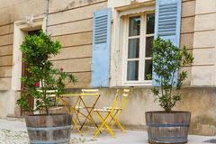 Provencal street with typical houses in southern France, Provenc Royalty Free Stock Images
