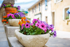 Provencal street with typical houses in southern France, Provenc Royalty Free Stock Image