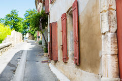 Provencal street with typical houses in southern France, Provenc Royalty Free Stock Photography