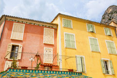 Provencal street with typical houses in southern France, Provenc Royalty Free Stock Photos