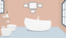 Provencal style bathroom with fashionable bath,toilet, bidet, toilet paper,vase with snowdrops,a window,paintings on pale pink stock illustration
