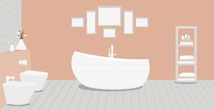 Provencal style bathroom with fashionable bath,toilet, bidet, toilet paper,vase with snowdrops,a rack for towels and cosmetics,. Paintings on terracotta wall vector illustration