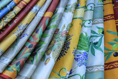 Provencal textile. In the colors and patterns of the Provence: yellow and blue with lavender and olive prints stock photo
