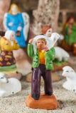 Provencal-Weihnachtskrippenzahl, der Schäfer und Schafe Stockfoto