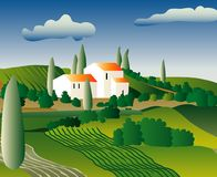 Provence. Vector abstract landscape from Italy or France Royalty Free Stock Photography