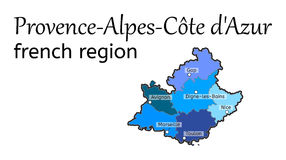 Provence-Alpes-Cote dAzur french region map Stock Images