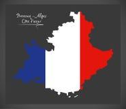 Provence -  Alpes Cote dazur map with French national flag illus Royalty Free Stock Image